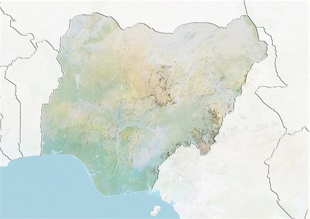 Nigeria, Relief Map With Border and Mask Stock Photo - Rights-Managed, Code: 872-06054625