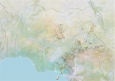 Nigeria, Relief Map With Border Stock Photo - Rights-Managed, Code: 872-06054626