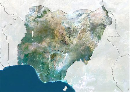 Nigeria, True Colour Satellite Image With Border and Mask Stock Photo - Rights-Managed, Code: 872-06054627