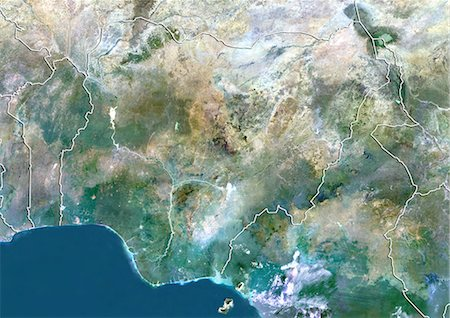Nigeria, True Colour Satellite Image With Border Stock Photo - Rights-Managed, Code: 872-06054628