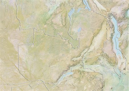 Zambia, Relief Map with Border Stock Photo - Rights-Managed, Code: 872-06054899