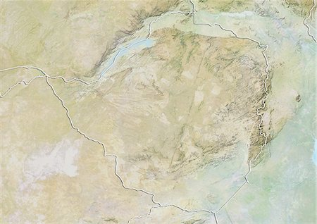 Zimbabwe, Relief Map with Border Stock Photo - Rights-Managed, Code: 872-06054903