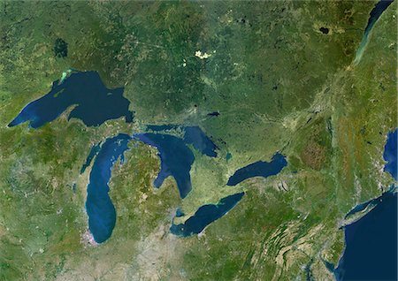 Great Lakes, Usa & Canada, True Colour Satellite Image. Satellite image of the American Great Lakes : lake Superior, Michigan, Huron, Erie and Ontario. This image was compiled from data acquired by LANDSAT 5 & 7 satellites. Stock Photo - Rights-Managed, Code: 872-06053007