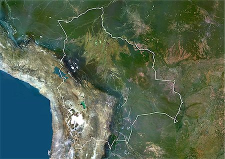 Bolivia, South America, True Colour Satellite Image With Border. Satellite view of Bolivia (with border and mask). This image was compiled from data acquired by LANDSAT 5 & 7 satellites. Stock Photo - Rights-Managed, Code: 872-06053195