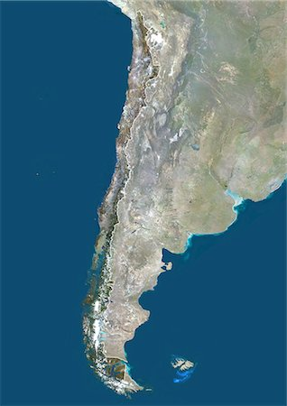 Chile, South America, True Colour Satellite Image With Border And Mask. Satellite view of Chile (with border and mask). This image was compiled from data acquired by LANDSAT 5 & 7 satellites. Stock Photo - Rights-Managed, Code: 872-06053225