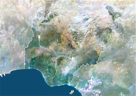 Nigeria, Africa, True Colour Satellite Image With Border And Mask. Satellite view of Nigeria (with border and mask). This image was compiled from data acquired by LANDSAT 5 & 7 satellites. Stock Photo - Rights-Managed, Code: 872-06053373