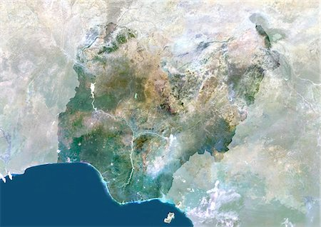 Nigeria, Africa, True Colour Satellite Image With Mask. Satellite view of Nigeria (with mask). This image was compiled from data acquired by LANDSAT 5 & 7 satellites. Stock Photo - Rights-Managed, Code: 872-06053482