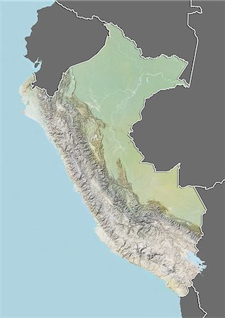 Relief map of Peru (with border and mask). This image was compiled from data acquired by landsat 5 & 7 satellites combined with elevation data. Stock Photo - Rights-Managed, Code: 872-06160350