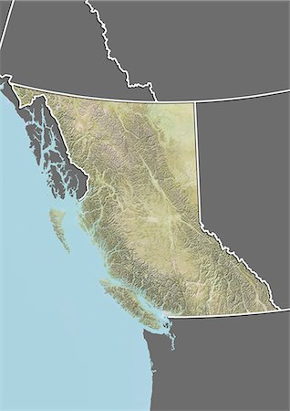 Relief map of British Columbia, Canada. This image was compiled from data acquired by LANDSAT 5 & 7 satellites combined with elevation data. Stock Photo - Rights-Managed, Code: 872-06160505