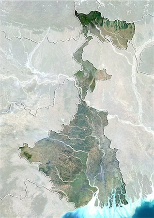 Satellite view of the State of West Bengal, India. This image was compiled from data acquired by LANDSAT 5 & 7 satellites. Stock Photo - Rights-Managed, Code: 872-06160769