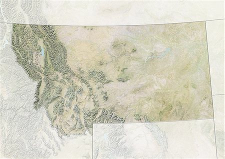 Relief map of the State of Montana, United States. This image was compiled from data acquired by LANDSAT 5 & 7 satellites combined with elevation data. Stock Photo - Rights-Managed, Code: 872-06161017