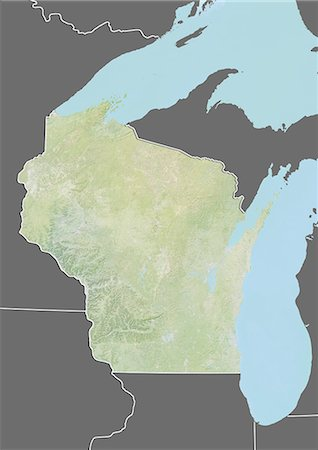 Relief map of the State of Wisconsin, United States. This image was compiled from data acquired by LANDSAT 5 & 7 satellites combined with elevation data. Stock Photo - Rights-Managed, Code: 872-06161086