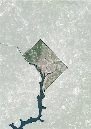 Satellite view of the State of Washington DC, United States. This image was compiled from data acquired by LANDSAT 5 & 7 satellites. Stock Photo - Rights-Managed, Code: 872-06161082