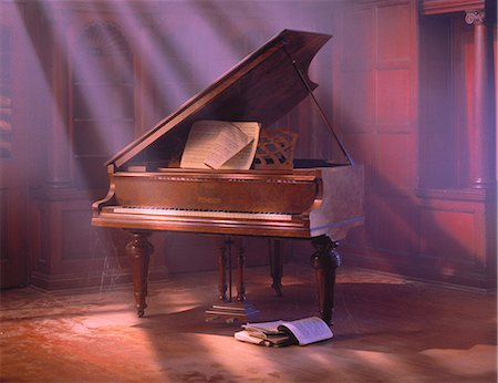 sheet music - Grand Piano with Sheet Music Stock Photo - Rights-Managed, Code: 873-06440220