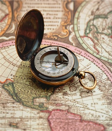 Close-Up of Compass on Map Stock Photo - Rights-Managed, Code: 873-06440312