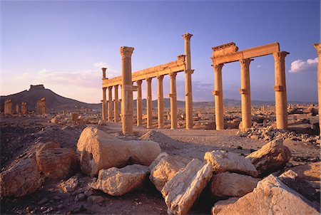 Sandstone Columns in Desert Palmyra Ruins, Syria Stock Photo - Rights-Managed, Code: 873-06440364