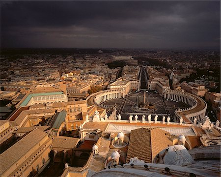 Aerial View of City and Storm Clouds Rome, Italy Stock Photo - Rights-Managed, Code: 873-06440397