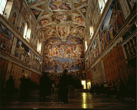 People Viewing Paintings in The Sistine Chapel, Rome, Italy Stock Photo - Rights-Managed, Code: 873-06440401