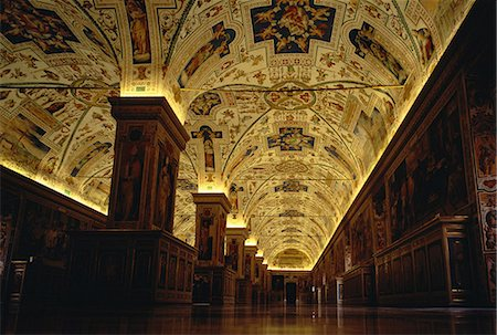 Hallway of Library at The Vatican Museum, Vatican City Rome, Italy Stock Photo - Rights-Managed, Code: 873-06440412