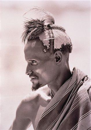 Profile of Masai Man Outdoors Kenya Stock Photo - Rights-Managed, Code: 873-06440426