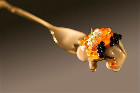 Oyster and Caviar on Fork Stock Photo - Rights-Managed, Code: 873-06440782