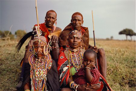 Group Of Masai People in Traditional Dress Stock Photo - Rights-Managed, Code: 873-06440975