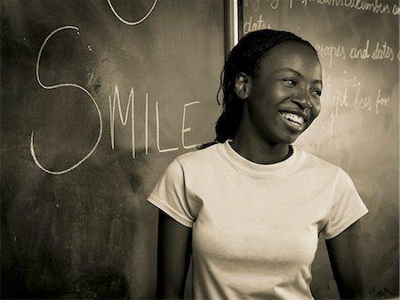 Teenage Girl at Blackboard Stock Photo - Rights-Managed, Code: 873-06441069