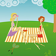 Two girls on picnic on the nature