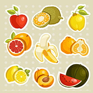 Cartoon fruits stickers  , vector illustration