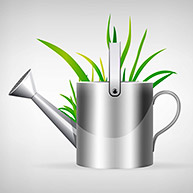 watering can and grass illustration isolated on white background