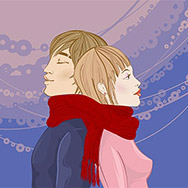 Young cople, the guy and the girl, standing a back to each other and wound with one red scarf. A gentle romantic picture