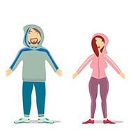 fully editable vector couple in jogging suit set ready to