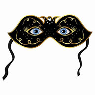 Illustration blue eyes hidden under theatrical mask - vector