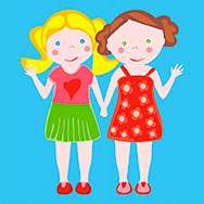 fully editable vector illustration of two little girls waving