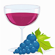 full glass of wine and a brush of dark grapes. Vector illustration