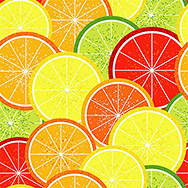 Bright seamless grunge pattern with colorful citrus slices (vector)