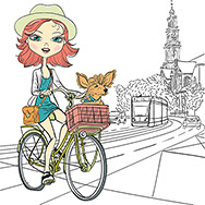 Cute beautiful fashionable girl with dog rides a bike in Amsterdam