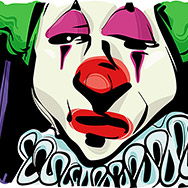 Sketch Drawing Illustration of Sad Clown Face