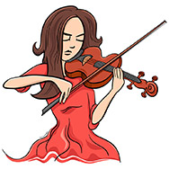 Cartoon Illustration of Violinist Woman or Beautiful Girl Playing the Violin Instrument