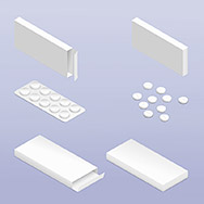 Tablets in blister and packaging detailed isometric icon set vector graphic illustration