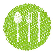 Illustration Green Vegetarian Restaurant Sign with Cutlery - Vector