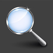 Magnifying glass on dark background. Vector illustration.