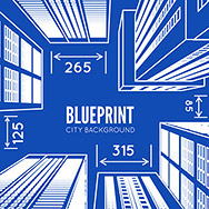 Building wireframe. 3d render city. Vector blueprint illustration