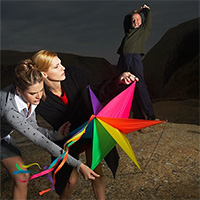 People Flying Kite