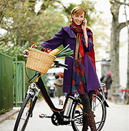 Woman with Bicycle on Cell Phone