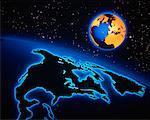 Globes en Amérique du Nord et en Europe