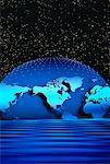 Globe et grille avec ciel étoilé