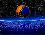 Globe and Grid Pacific Rim