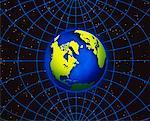Globe et grille en Amérique du Nord et l'océan Atlantique