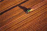 Vue aérienne de la récolte de blé de la Saskatchewan, Canada